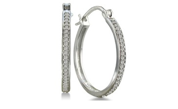 25 Ct White Diamond Hoop Earring
