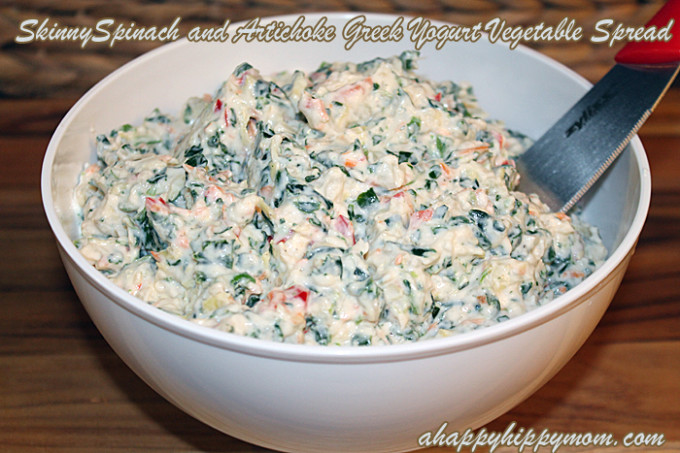 Skinny Spinach and Artichoke Greek Yogurt Vegetable Spread