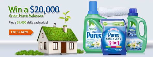 Purex Saves Green $20,000 Giveaway- Plus a $1,000 daily cash prize!