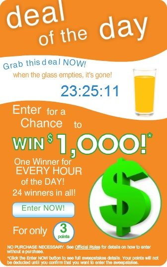 Tropicana Juicy Rewards Deal Of The Day – A $1000 Winner Every Hour!!!