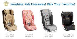 Sunshine Kids Radian Car Seat OR Monterey Booster Giveaway! Pick ...