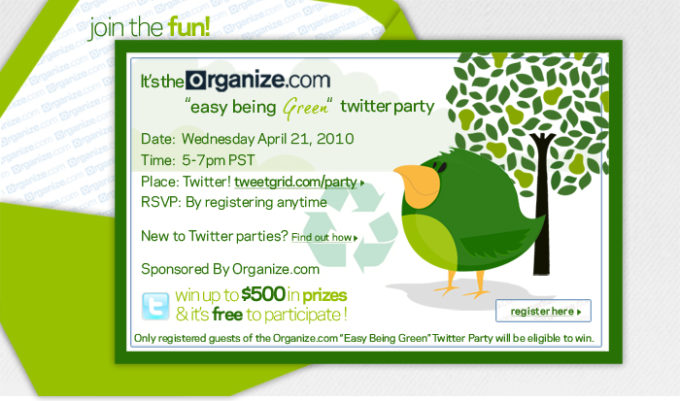 Organize.com Easy Being Green Twitter Party Tonight! Win Up To $500 In Prizes-ahappyhippymom.com