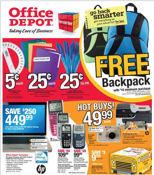 Office Depot Back To School Savings 8/1-8/7