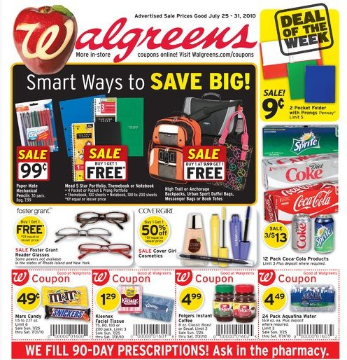 Walgreens-Back To School Specials -Week 7/25-7/31