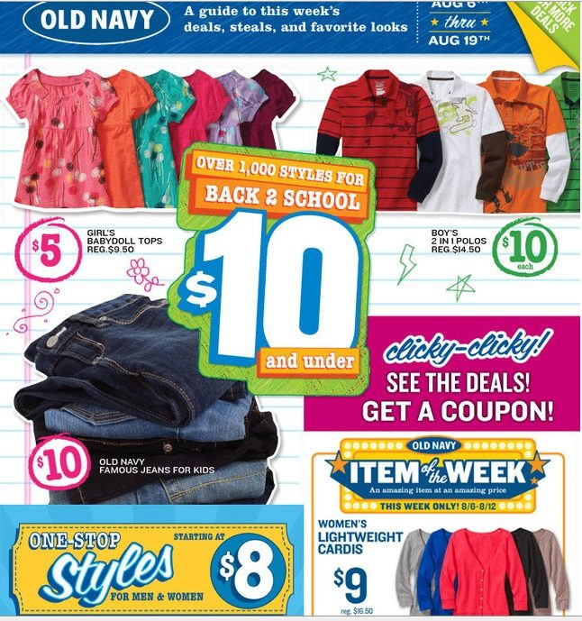 Old Navy Back 2 School $10 And Under-$10 off $50 Coupon!