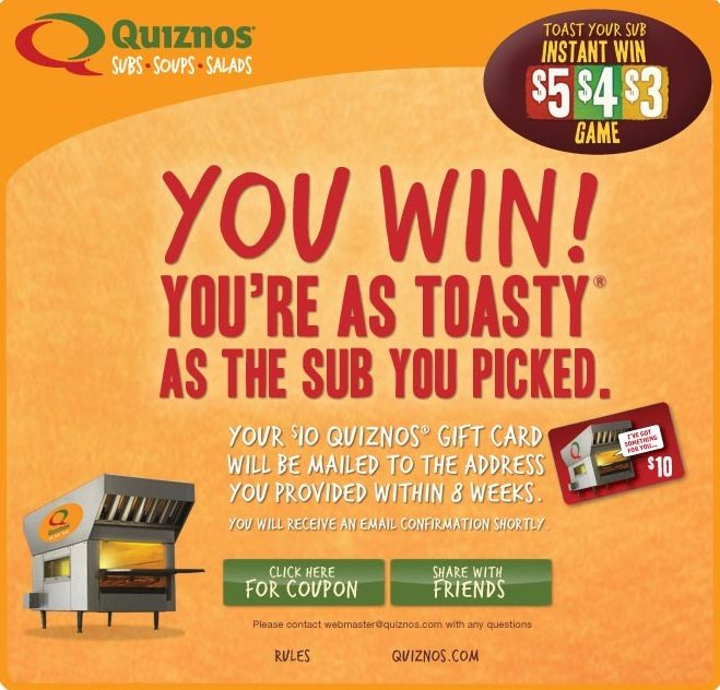 Quiznos Toast Your Sub Instant Win Game – $1/$2 Off Coupon!