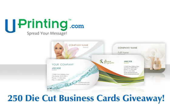 Uprintingcom 250 die cut business cards giveaway up to for Uprinting business cards