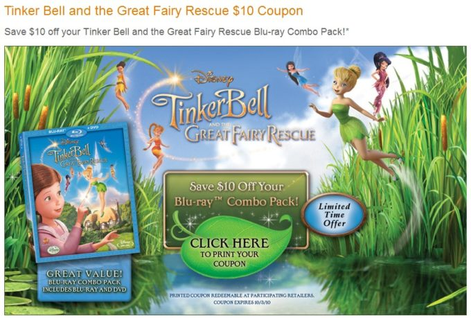 Save $10 On Tinker Bell and the Great Fairy Rescue!