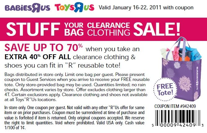 Toys R Us STUFF Your Bag Clearance Clothing Sale Starts 1/16 – 1/22- FREE Reusable TOTE!