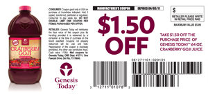 Genesis Today $2,000 Cash Contest & $1.50 Off Cranberry Goji Coupon!