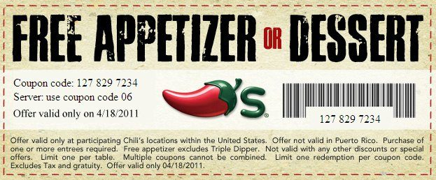 Enjoy a Tax Break with Chili's-Free Appetizer or Dessert Coupon!