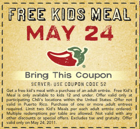 Chili's Tuesday- Kids-Eat-Free-Day!