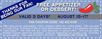 Chili's FREE Appetizer or Dessert!