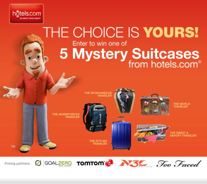 """hotels.com Mystery Suitcase Sweepstakes & $50 """"World Traveler-themed"""" Gift Card Giveaway!"""