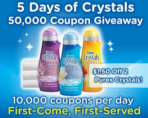 5 Days Of Crystals 50,000 Coupon Giveaway Schedule