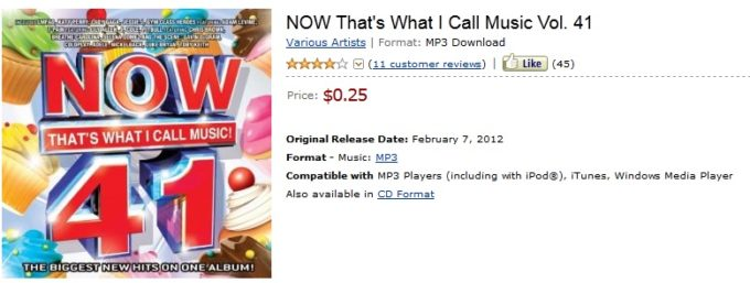 HURRY! NOW That's What I Call Music Vol. 41 ONLY 25 CENTS!