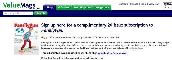 FREE 20 Issue Subscription to FamilyFun Magazine!