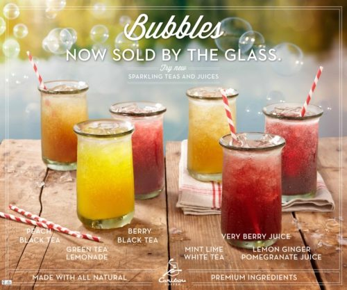 Caribou Coffee New All-Natural Sparkling Teas and Juices!