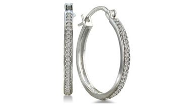Black or White Diamond Hoop Earrings $39!