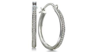 25 Ct White Diamond Hoop Earring