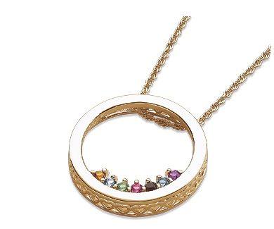 Mother's Circle Slider Birthstone Necklace