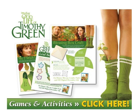 FREE THE ODD LIFE OF TIMOTHY GREEN Printable Crafts!