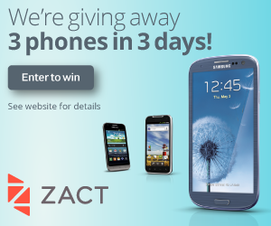 Zact is giving away three smartphones in three days!