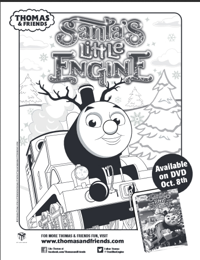 Thomas & Friends Santa's Little Engine Coloring Sheet