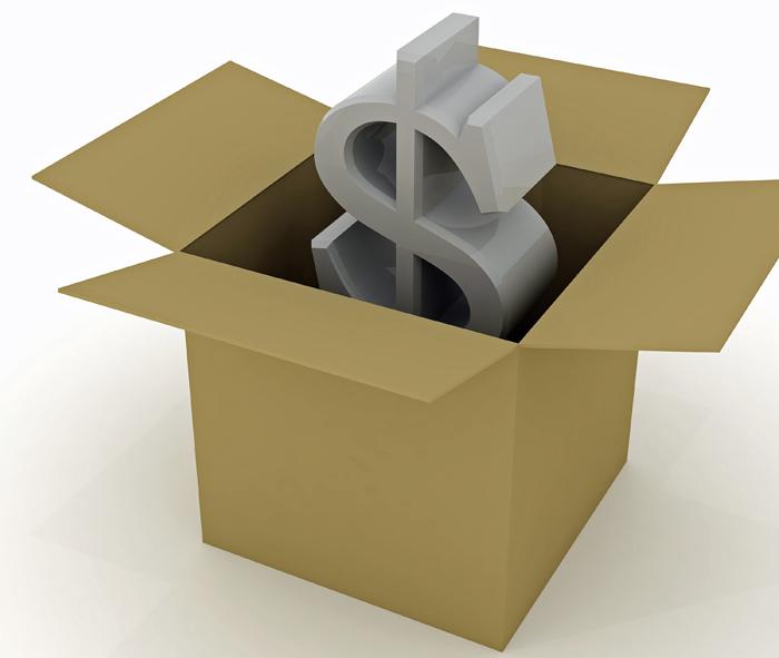 dollar in a box