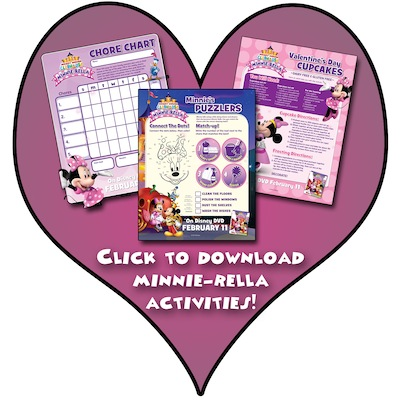 Happy Valentine's Day – MICKEY MOUSE CLUBHOUSE Minnie-rella inspired free activity sheets