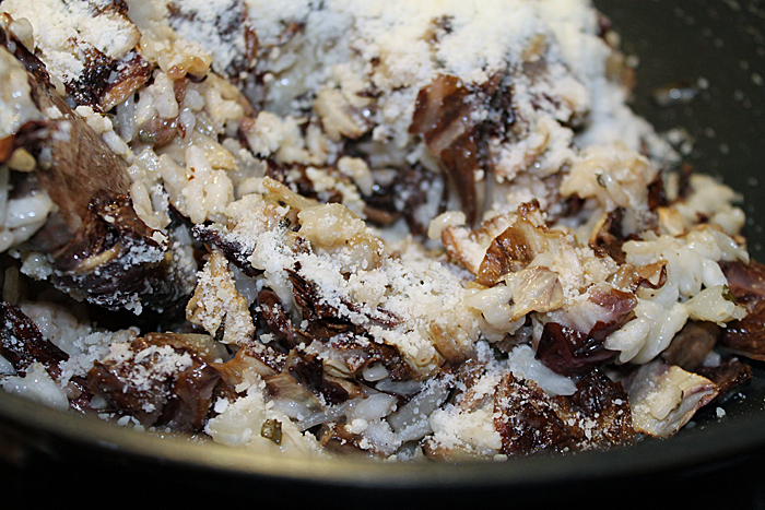Risotto with Roasted Radicchio, Mushrooms, and Lemon