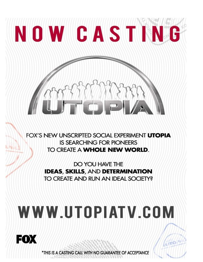 Casting Call – Fox TV series called Utopia!