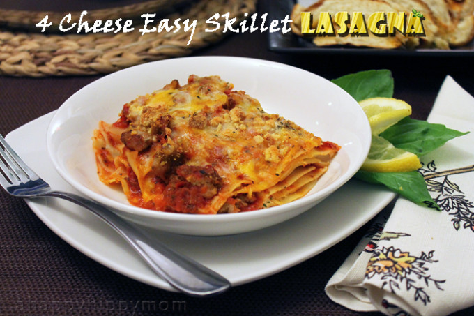 4 Cheese Easy Skillet Lasagna