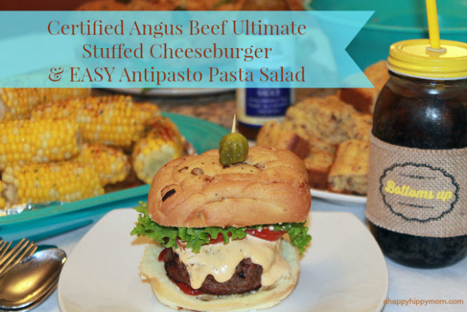 Certified Angus Beef Ultimate Stuffed Cheeseburger & EASY Antipasto Pasta Salad Recipe #PriceChopperBBQ #CollectiveBias #Shop