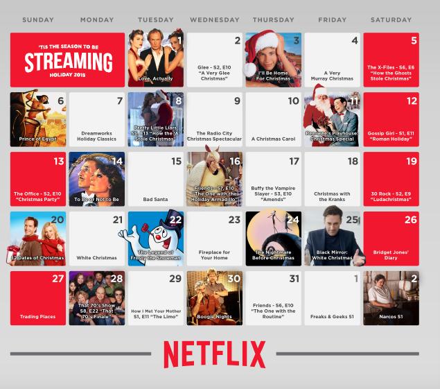 Netflix holiday calendar! No bah humbug! #StreamTeam