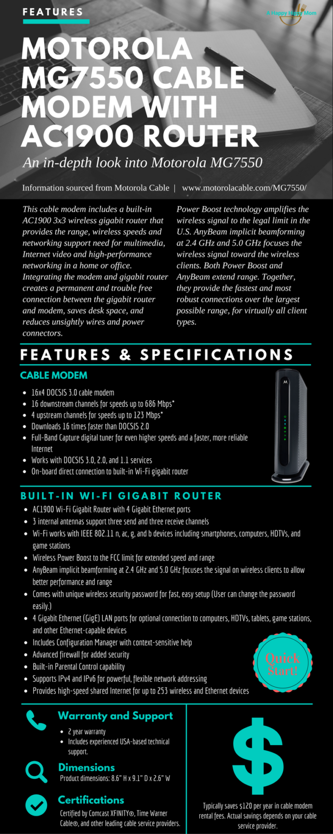 $120 Annual Savings On Cable Bill-Motorola MG7550 Cable Modem/Router