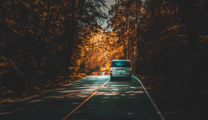 Silver Van Traveling On Highway