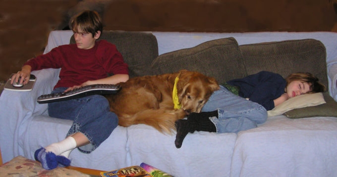kids on couch