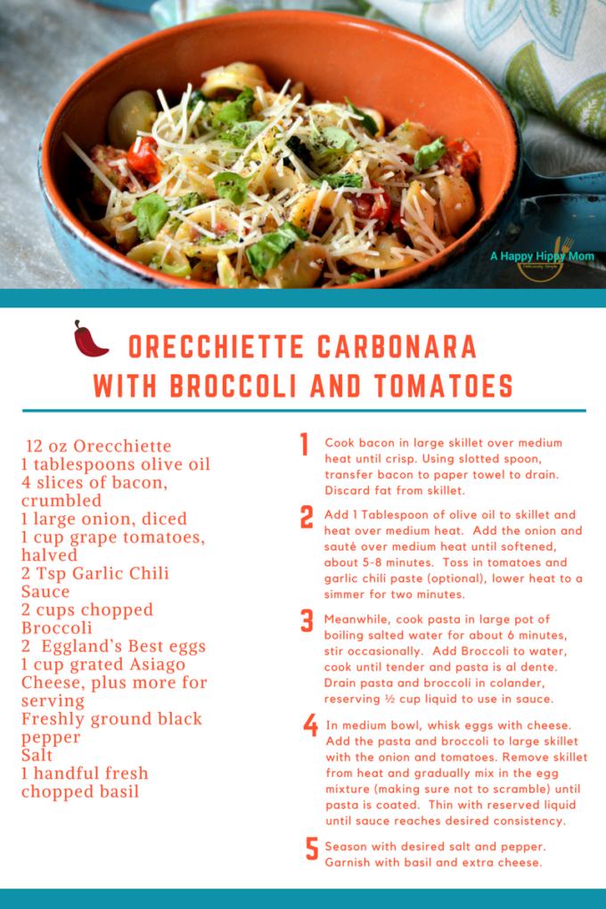 Orecchiette Carbonara with Broccoli and Tomatoes